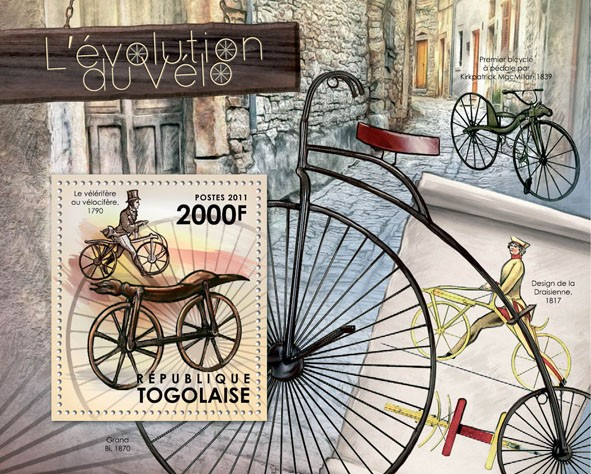 The Evolution of Bicycles, (1790). - Issue of Togo postage stamps