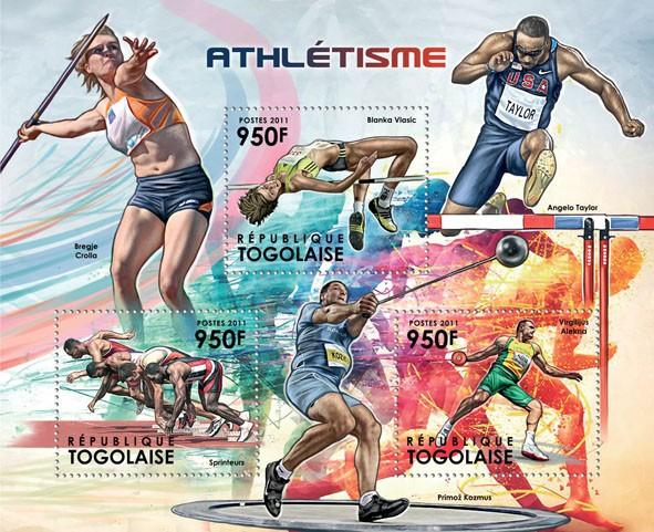 Athletics, (Blanka Vlasic, Sprinters, Vilgilijus Alekna). - Issue of Togo postage stamps