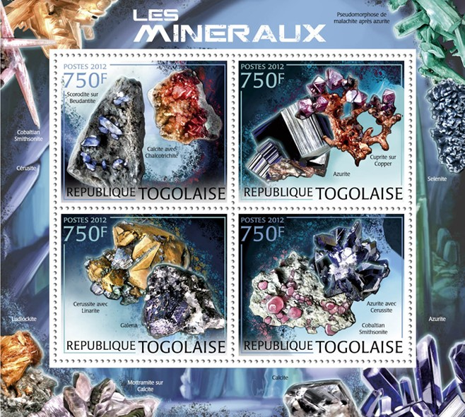 Minerals, (Scorodite & Calcite). - Issue of Togo postage stamps