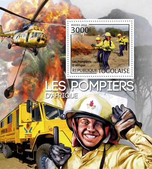 Fire Brigade of Africa, (Fire Truck & Helicopter). - Issue of Togo postage stamps