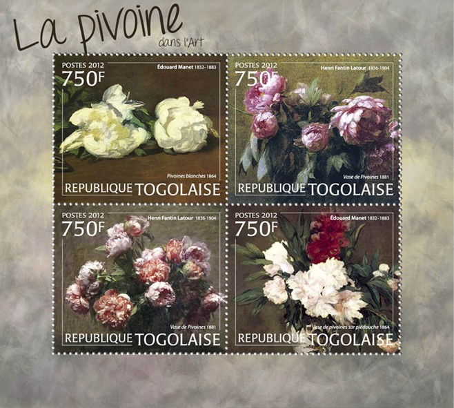 Peony Flowers in Paintings, (Eduard Manet & Henri Fantin Latour). - Issue of Togo postage stamps