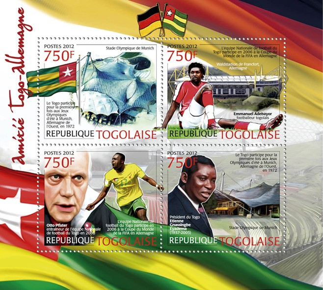 Friendship Togo & Germany, (Emanuel Adebayor, Otto Pfister & E.G. Eyadema). - Issue of Togo postage stamps