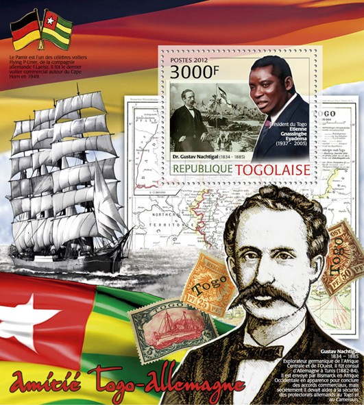 Friendship Togo & Germany, (Dr.Gustav Nachtigal & E.G. Eyadema). - Issue of Togo postage stamps