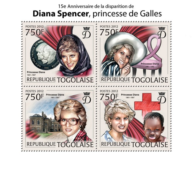 Diana Spencer (1961-1997) - Issue of Togo postage stamps