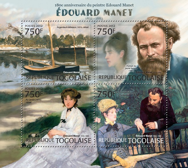 Edouard Manet (1832-1883) - Issue of Togo postage stamps