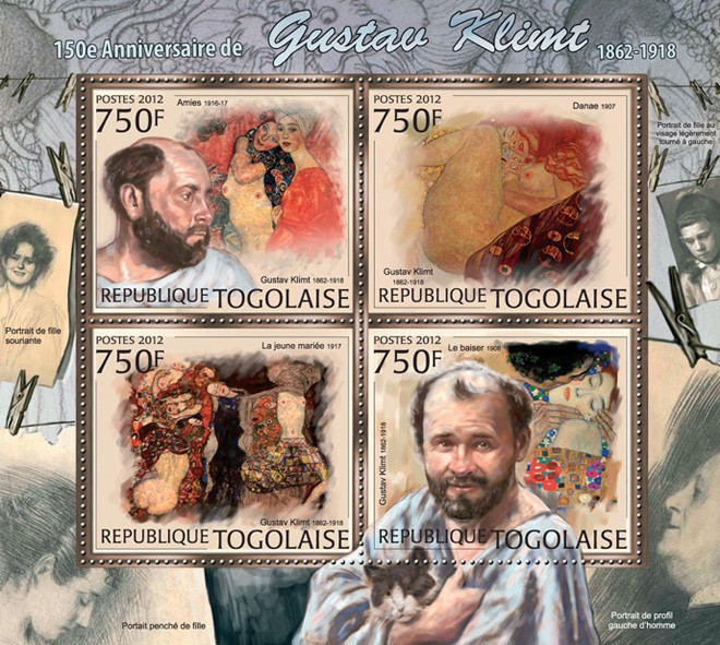 Gustav Klimt (1862-1918) - Issue of Togo postage stamps
