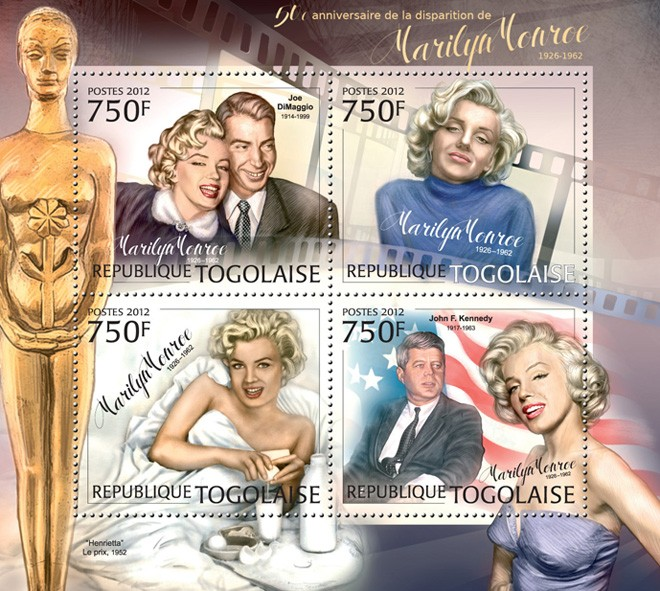 Marilyn Monroe (1926-1962) (Joe DiMaggio, John F. Kennedy) - Issue of Togo postage stamps