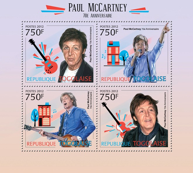 Paul McCartney (70th Anniversary) - Issue of Togo postage stamps