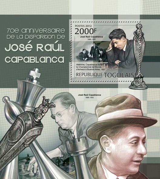 Chess. Chose Raul Capablanca  (1888-1942) (Alekhine) - Issue of Togo postage stamps