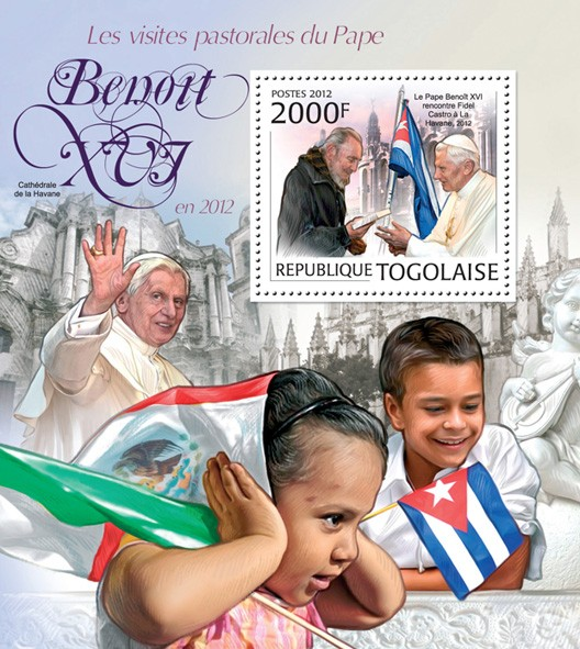 Pope Benedict XVI (Pastoral visits in 2012) - Issue of Togo postage stamps