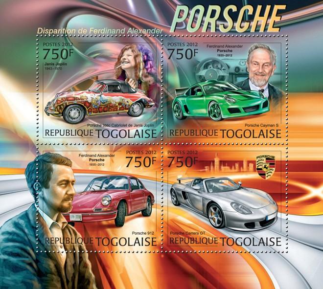 Ferdinand Alexander Porsche (Janis Joplin, Porsche Carrera GT) - Issue of Togo postage stamps