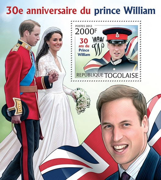 Prince William (30th Birthday) - Issue of Togo postage stamps
