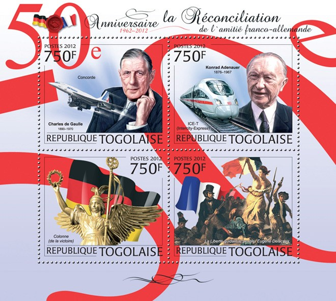 50th Anniversary of Reconciliation friendship France and Germany (Concorde, Liberty Leading the People, Eug?�ne Delacroix) - Issue of Togo postage stamps