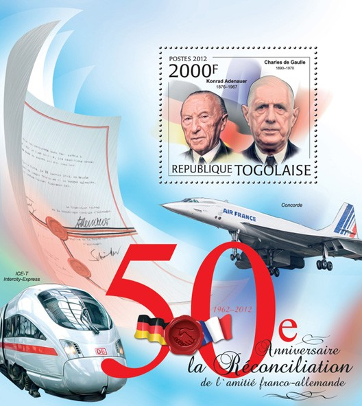 50th Anniversary of Reconciliation friendship France and Germany (Konrad Adenauer, Charles de Gaulle) - Issue of Togo postage stamps