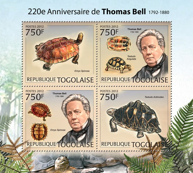 Thomas Bell (220th Anniversary), (Emys Spinosa, Testudo Actinodes) - Issue of Togo postage stamps