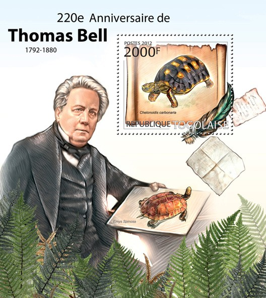 Thomas Bell (220th Anniversary), (Chelonoidis carbonaria) - Issue of Togo postage stamps