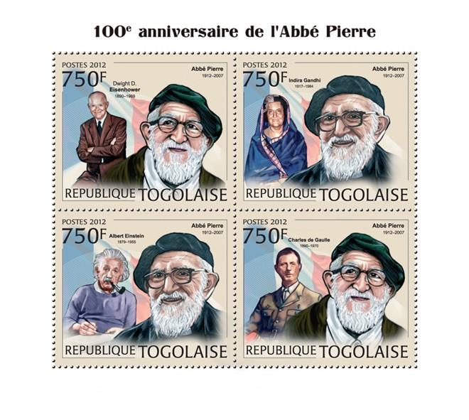 Abbe Pierre (100th Anniversary), (Dwight D. Eisenhower, Indira Gandhi, Albert Einstein, Charles de Gaulle) - Issue of Togo postage stamps