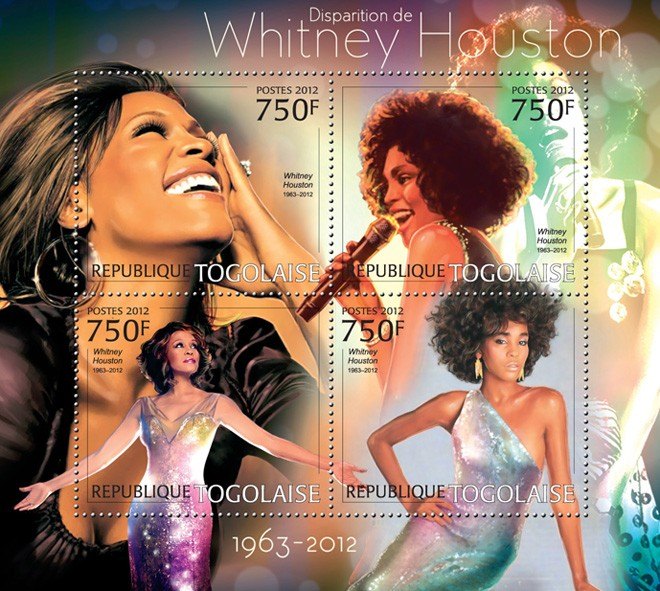 Whitney Houston (1963-2012) - Issue of Togo postage stamps