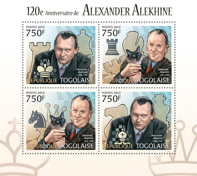 Chess, Alexander Alekhine (120th Anniversary) - Issue of Togo postage stamps