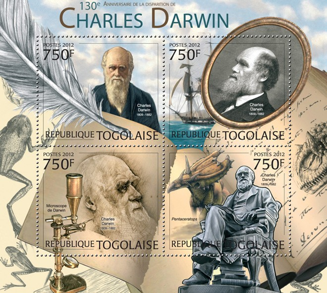 Charles Darwin (130th Anniversary of the death), (Darwin's Microscope, Pentaceratops) - Issue of Togo postage stamps