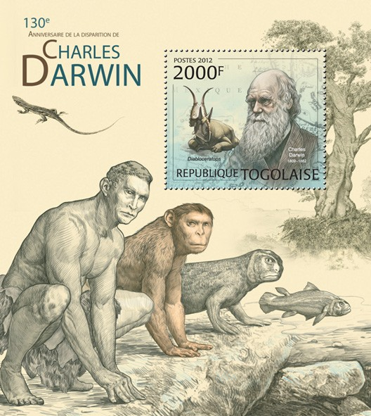Charles Darwin (130th Anniversary of the death), (Diabloceratops) - Issue of Togo postage stamps