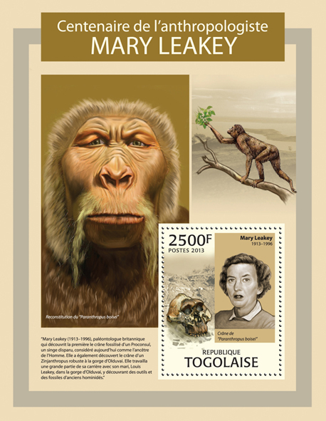 Mary Leakey - Issue of Togo postage stamps