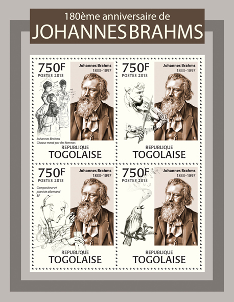 Johannes Brahms - Issue of Togo postage stamps