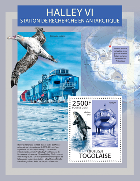 Halley VI - Issue of Togo postage stamps
