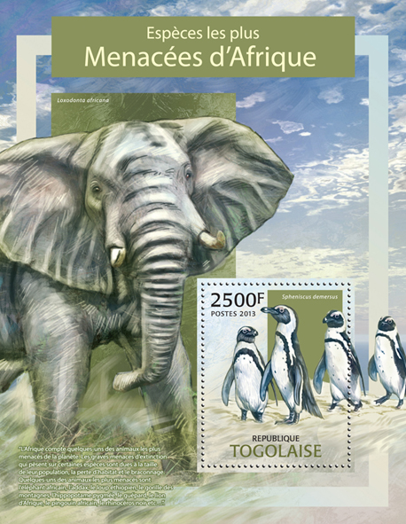 Endangered species - Issue of Togo postage stamps