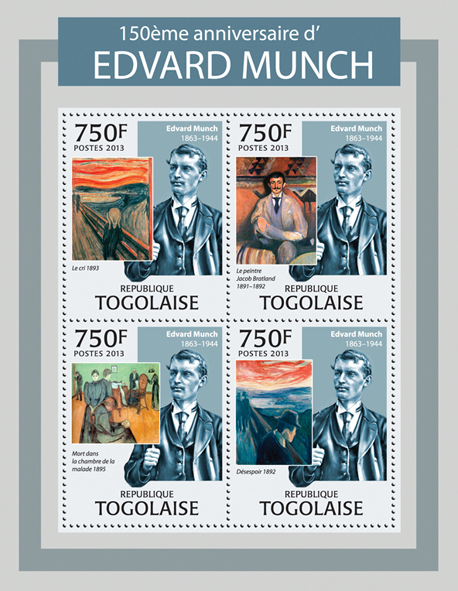 Edvard Munch - Issue of Togo postage stamps