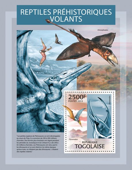 Prehistoric flying reptiles - Issue of Togo postage stamps