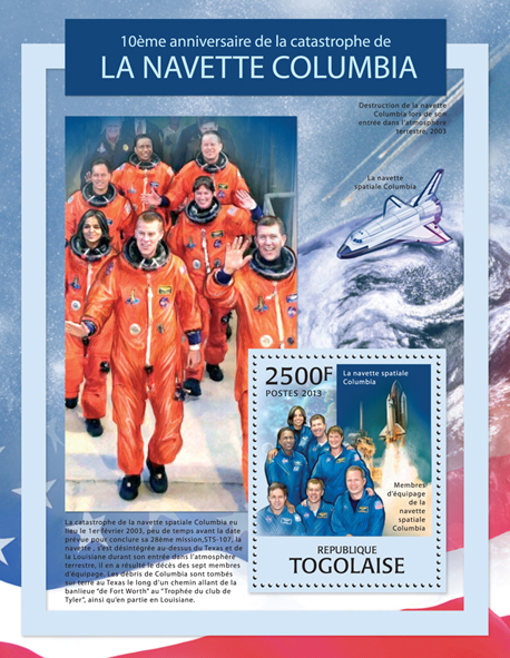 Shuttle Columbia - Issue of Togo postage stamps