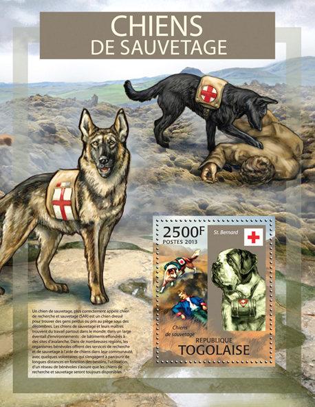 Wild Dogs - Issue of Togo postage stamps