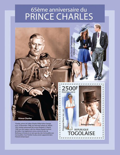 Prince Charles - Issue of Togo postage stamps