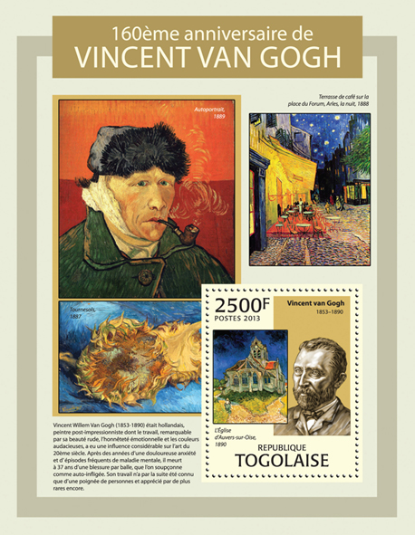 Vincent van Gogh - Issue of Togo postage stamps