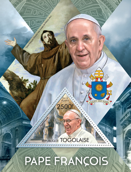 Pope Francis - Issue of Togo postage stamps