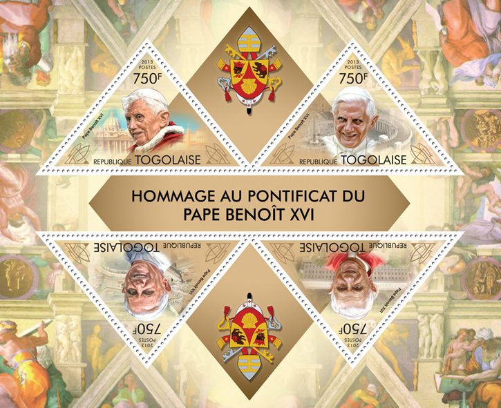 Pope Benedict XVI - Issue of Togo postage stamps