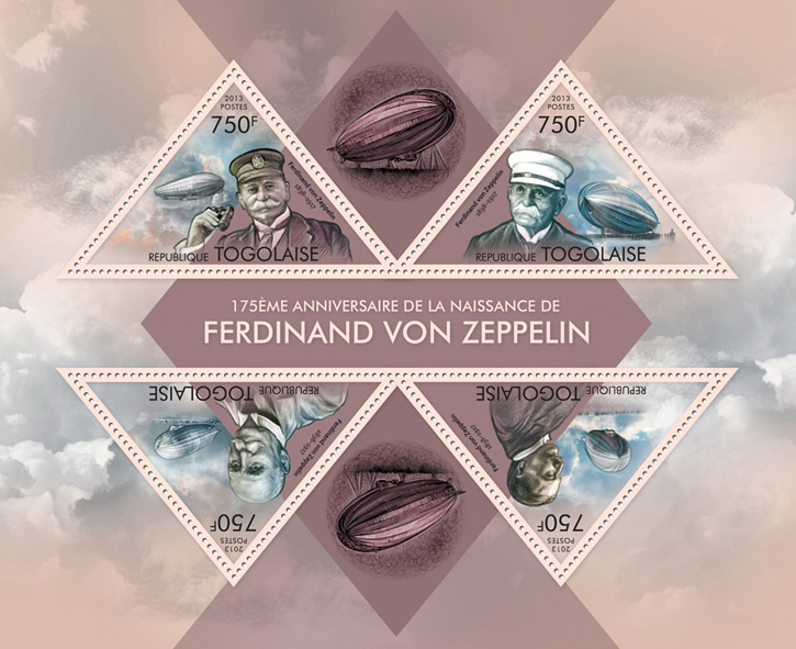 Ferdinand Von Zeppelin - Issue of Togo postage stamps