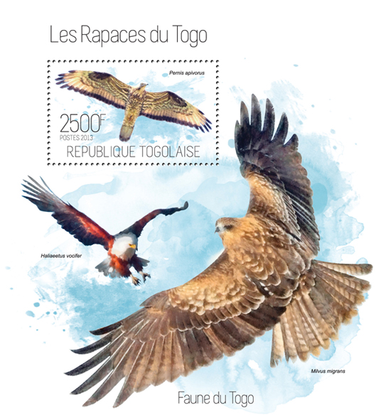 Raptors - Issue of Togo postage stamps