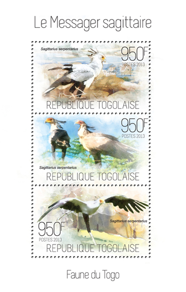 Secretary bird - Issue of Togo postage stamps