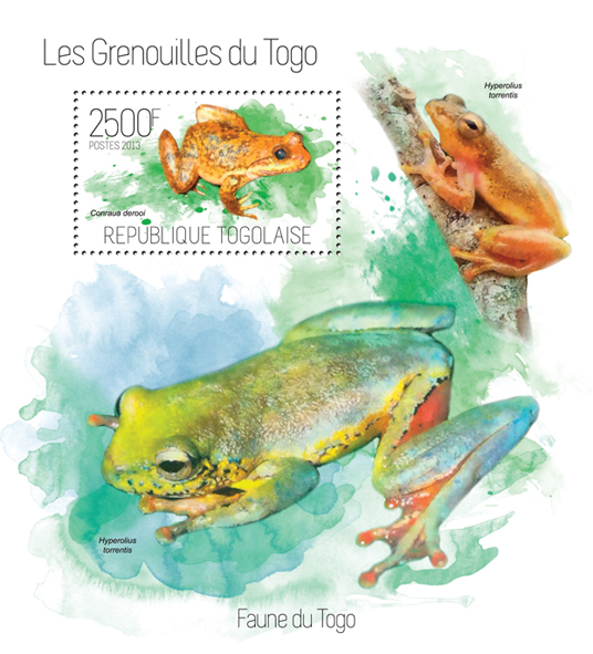 Frogs - Issue of Togo postage stamps