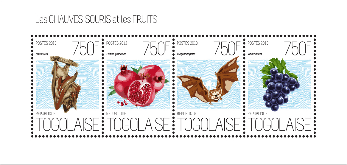 Bats and fruits - Issue of Togo postage stamps