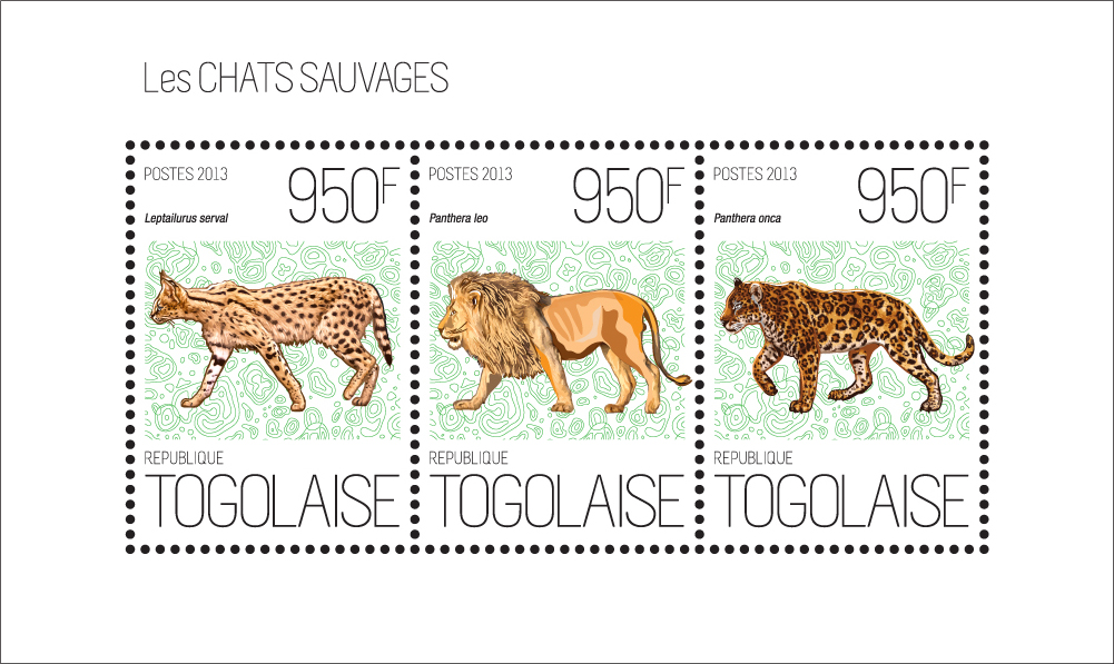 Wild cats - Issue of Togo postage stamps