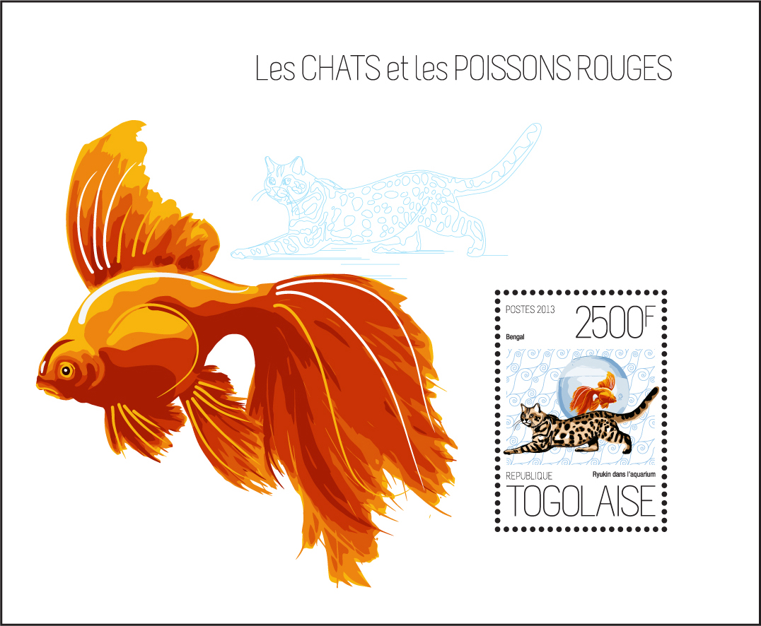 Cats and goldfish - Issue of Togo postage stamps