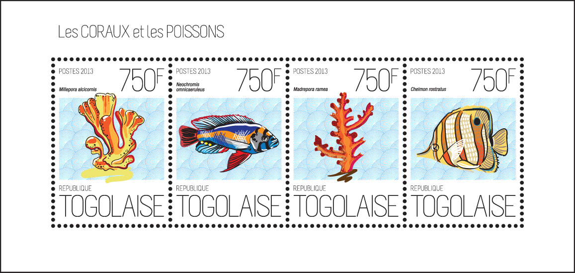 Coral and fish - Issue of Togo postage stamps