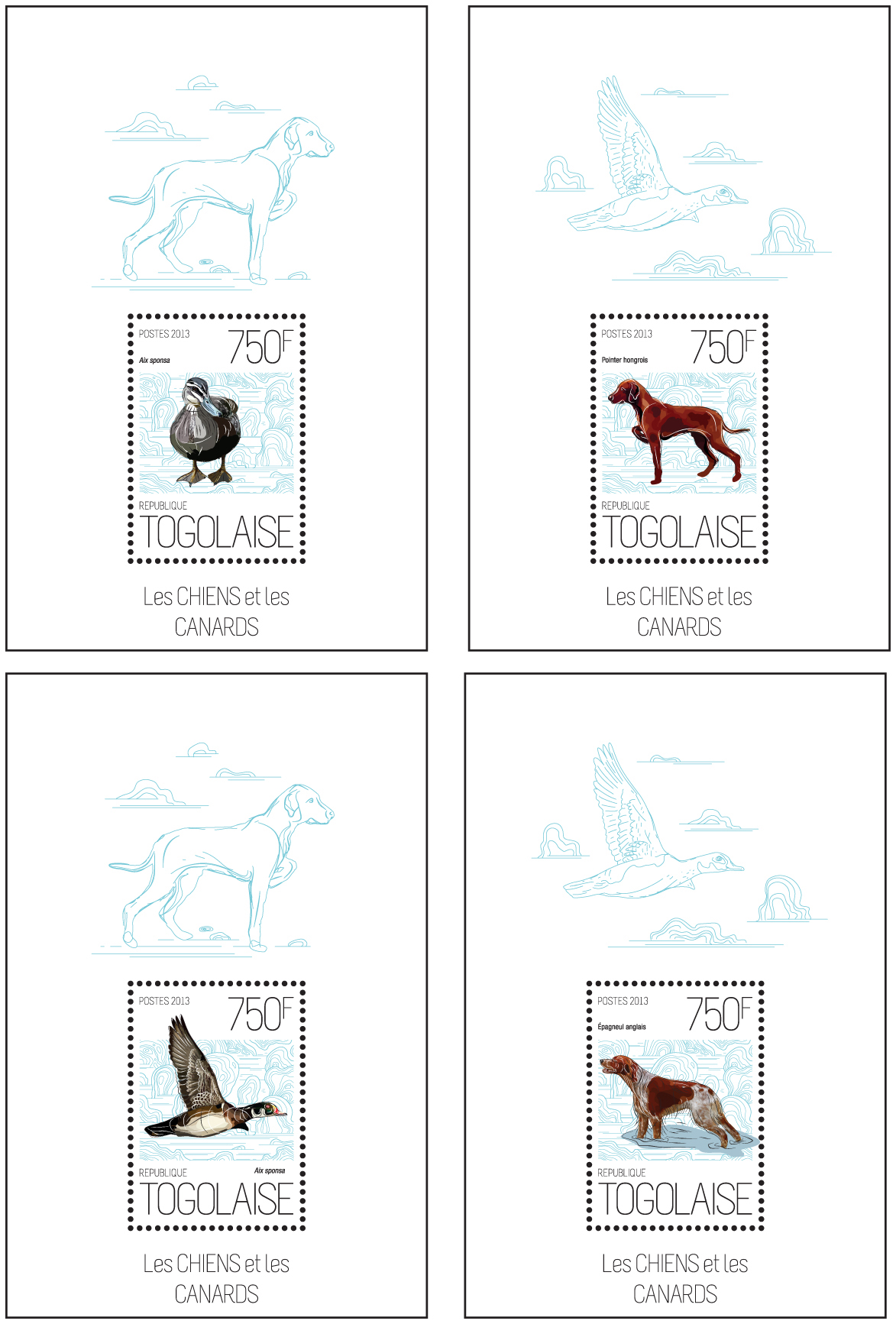 Dogs and ducks - Issue of Togo postage stamps