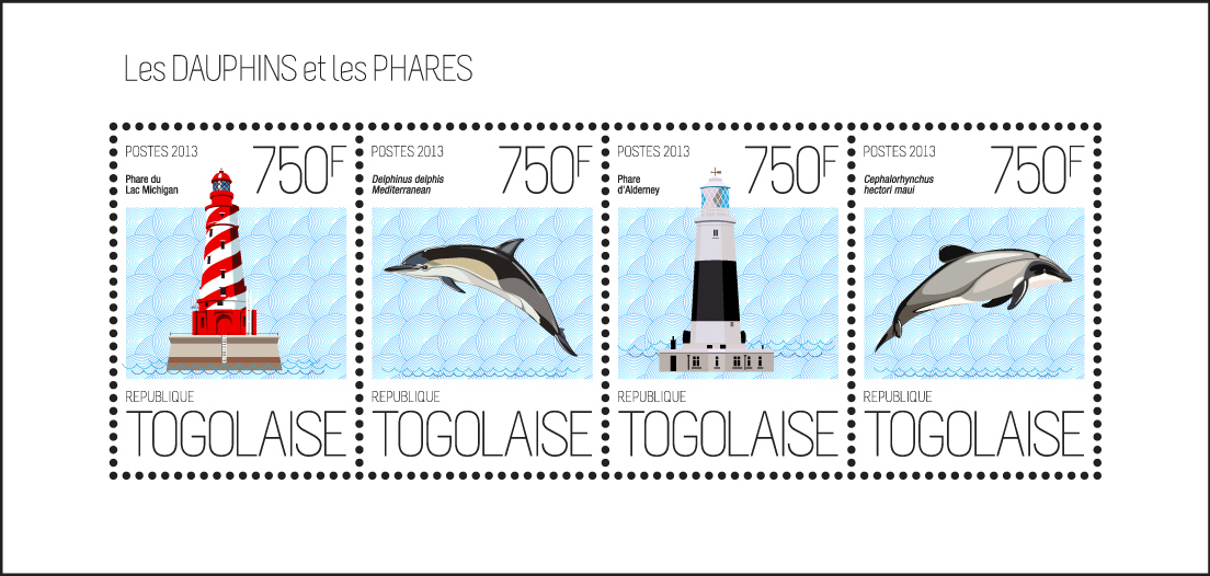 Dolphins and Lighthouses - Issue of Togo postage stamps