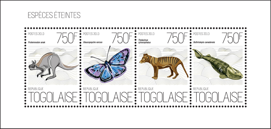 Extinct species - Issue of Togo postage stamps