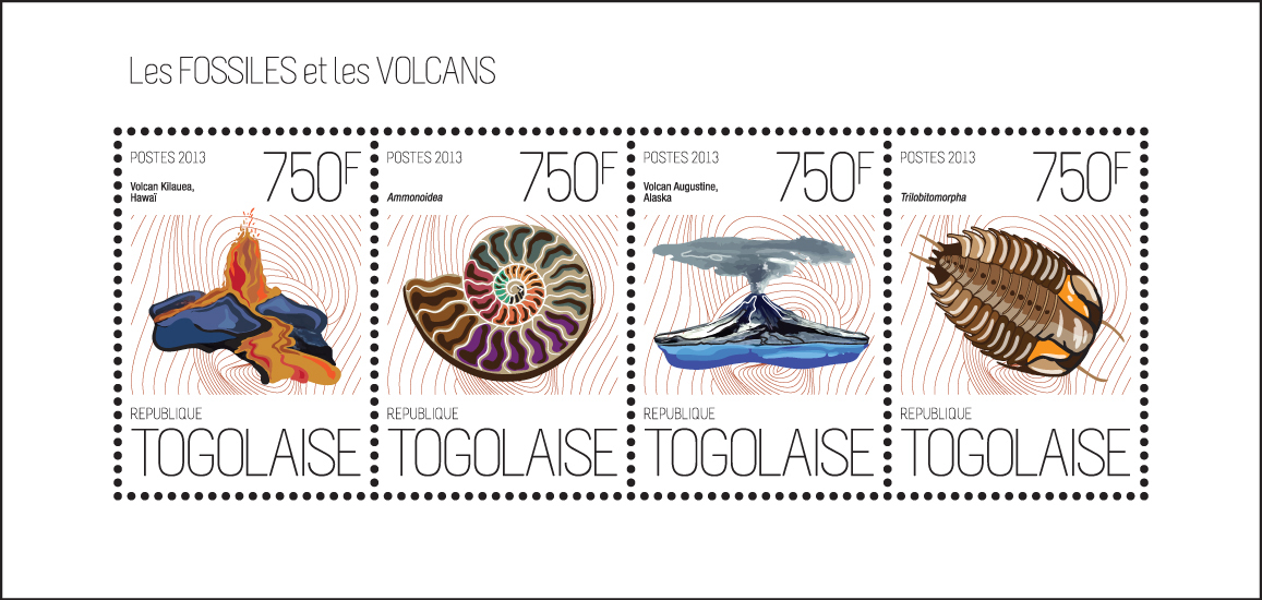 Fossils and volcanoes - Issue of Togo postage stamps