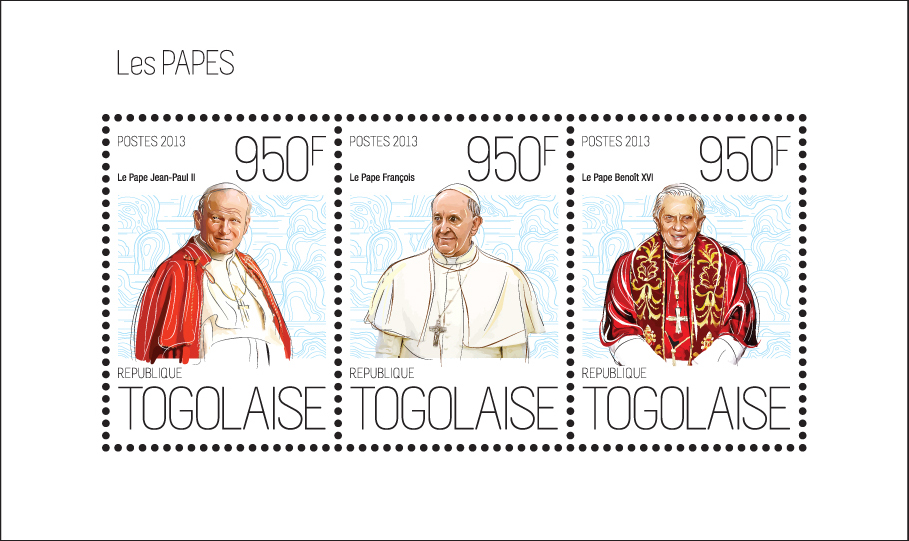 Popes - Issue of Togo postage stamps